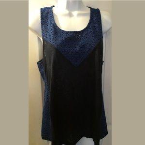 J.CREW Blue Eyelet Linen Tank Top Blouse Knit